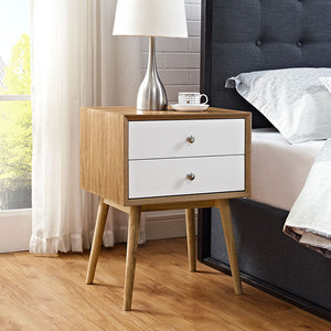 Debra Retro Nightstand Natural White Free Shipping