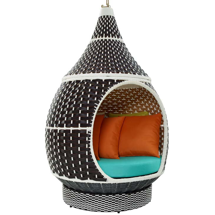 Palace Hanging Outdoor Patio Wicker Rattan Pod - living-essentials