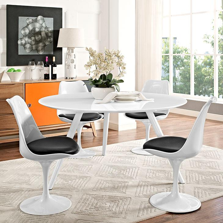 "Tulip Style 54"" White Wood Dining Table With Tripod Base - living-essentials"