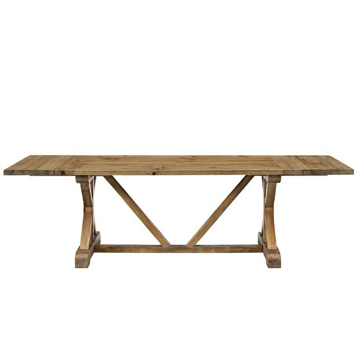 Parker Plain Industrial Style Brown Wood Dining Table - living-essentials