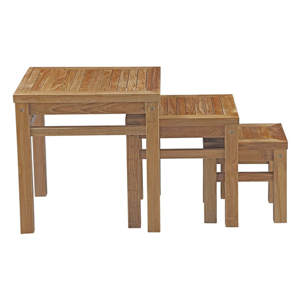 Macayla Outdoor Patio Teak Nesting Table - living-essentials