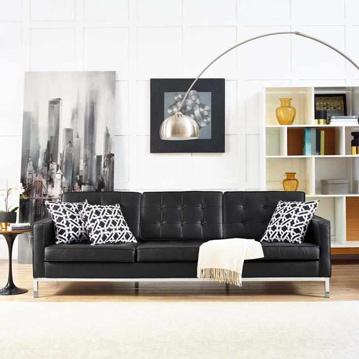 Florence Knoll Leather Sofa Replica   EMFURN
