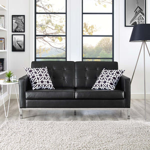 Florence Knoll Style Leather Loveseat Black Free Shipping
