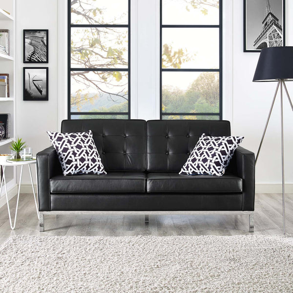Florence Knoll Style Leather Loveseat - living-essentials