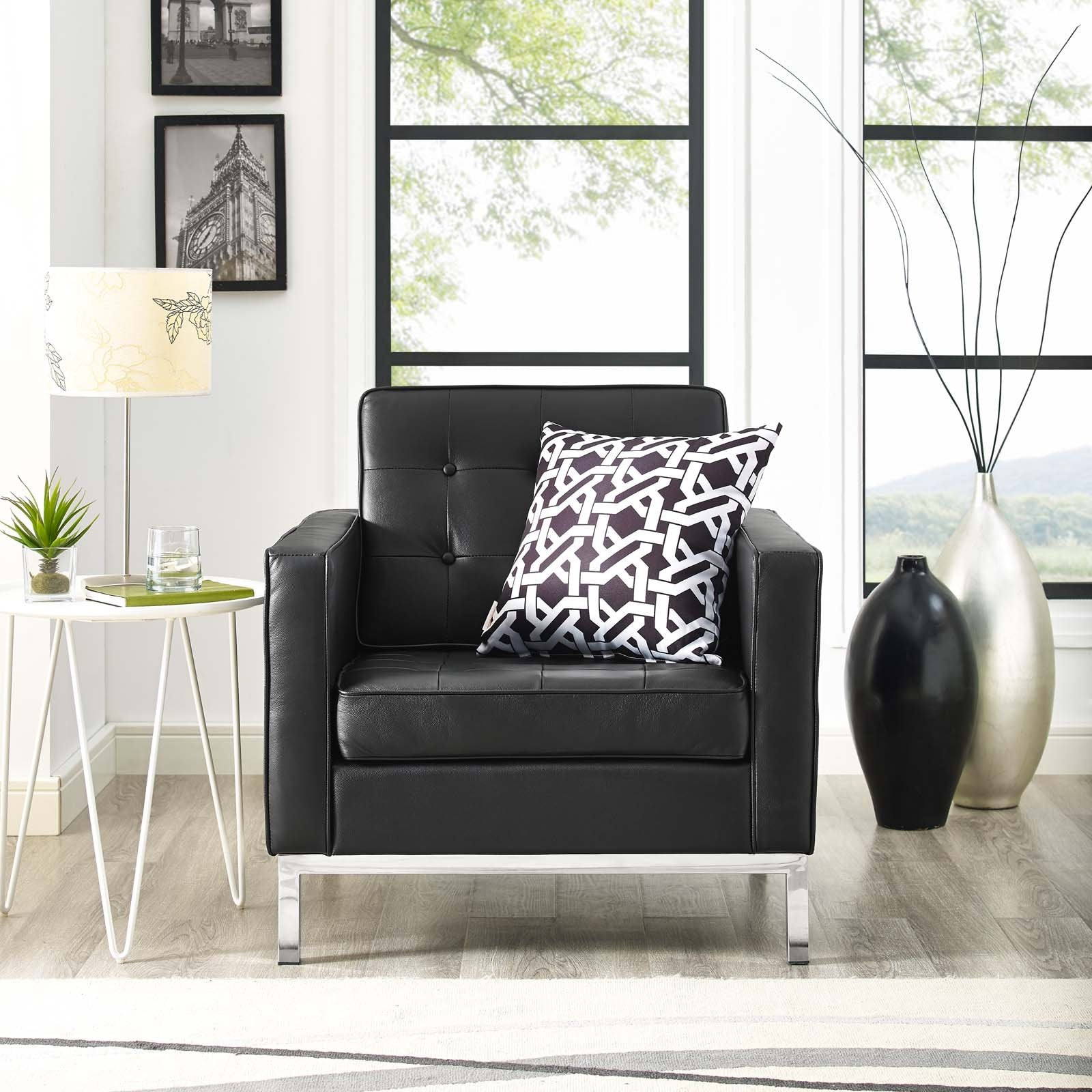 Florence Knoll Style Leather Armchair Black Lounge Chair Free Shipping