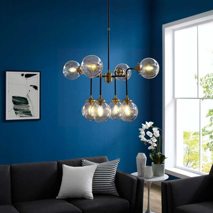 Ambition Amber Glass and Antique Brass 8 Light Pendant Chandelier - living-essentials