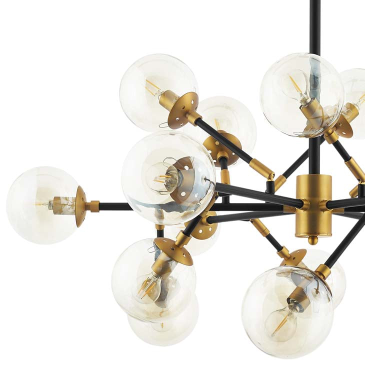Sparkle Amber Glass and Antique Brass 18 Light Mid-Century Pendant Chandelier - living-essentials