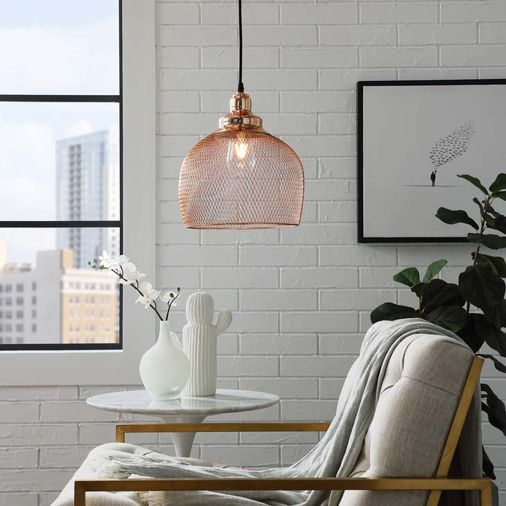 Glimmer Half-Sphere Rose Gold Pendant Light - living-essentials