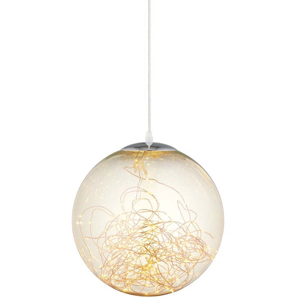 "Fairy 8"" Amber Glass Globe Ceiling Light Pendant Chandelier - living-essentials"