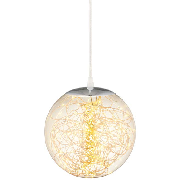 "Fairy 12"" Amber Glass Globe Ceiling Light Pendant Chandelier - living-essentials"