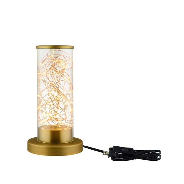 Adore Cylindrical-Shaped Clear Glass and Brass Table Lamp - living-essentials