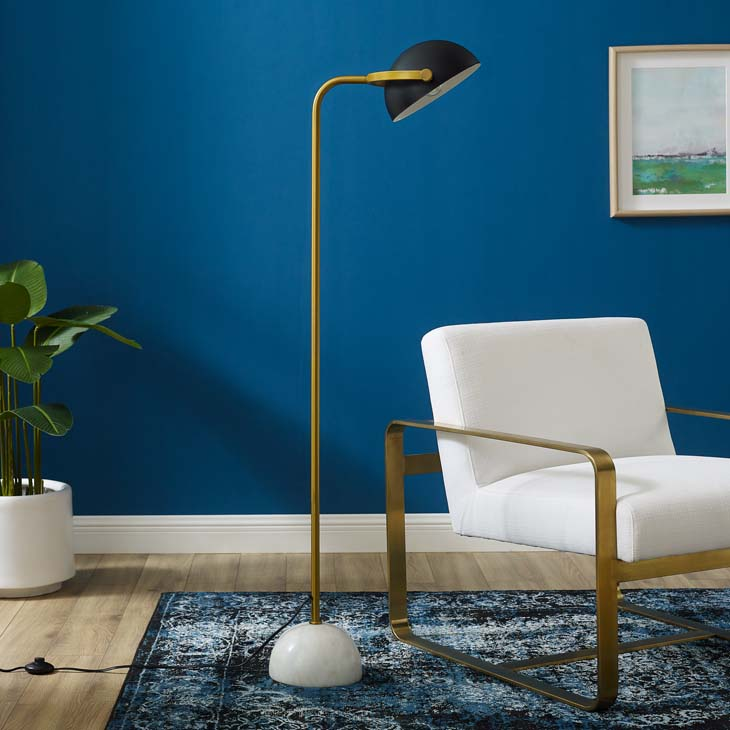 Convey Bronze and White Marble Floor Lamp - living-essentials