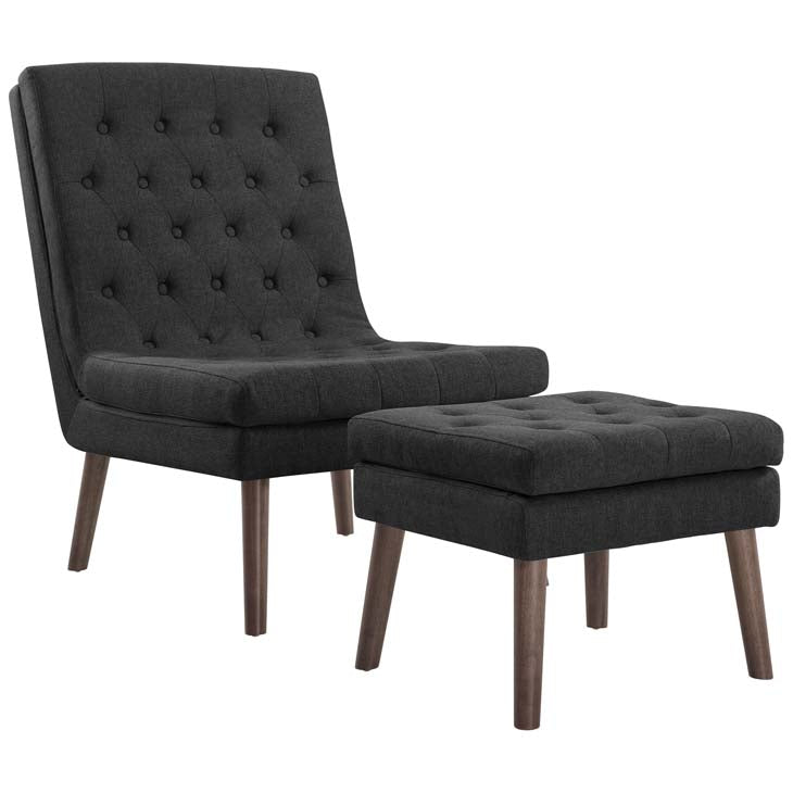 Monty Upholstered Lounge Chair and Ottoman - living-essentials