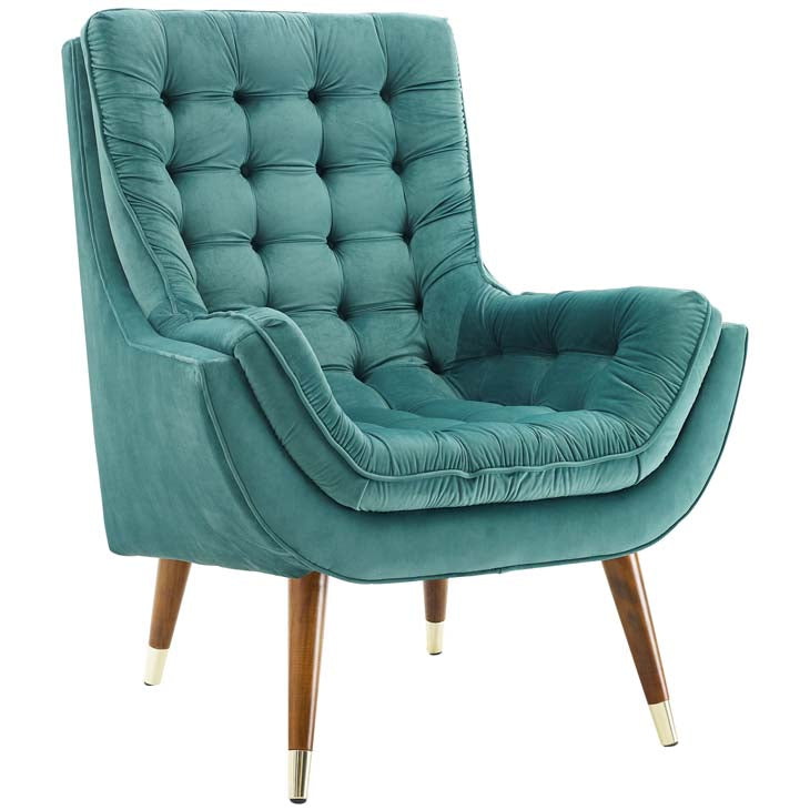 Recommend Button Tufted Upholstered Velvet Lounge Chair - living-essentials