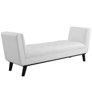 Heaven Tufted Button Faux Leather Accent Bench