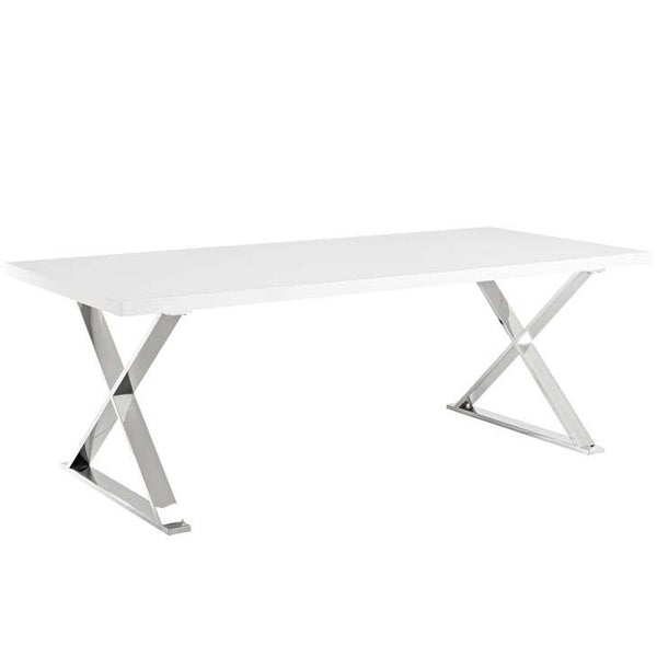 Shelby White Silver Dining Table - living-essentials