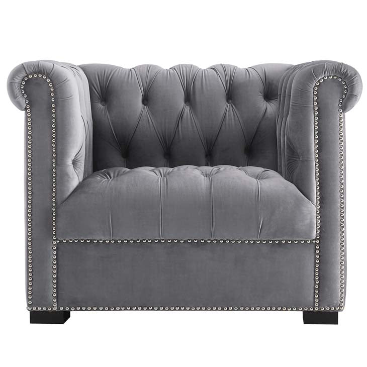 Heritage Upholstered Velvet Armchair - living-essentials