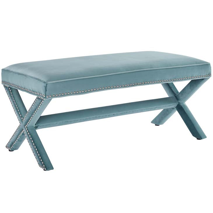 Rivet Upholstered Velvet Bench - living-essentials