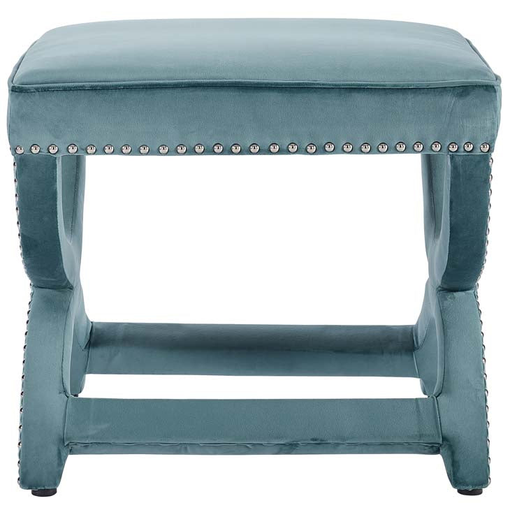 Expound Upholstered Nailhead Trim Velvet Ottoman - living-essentials