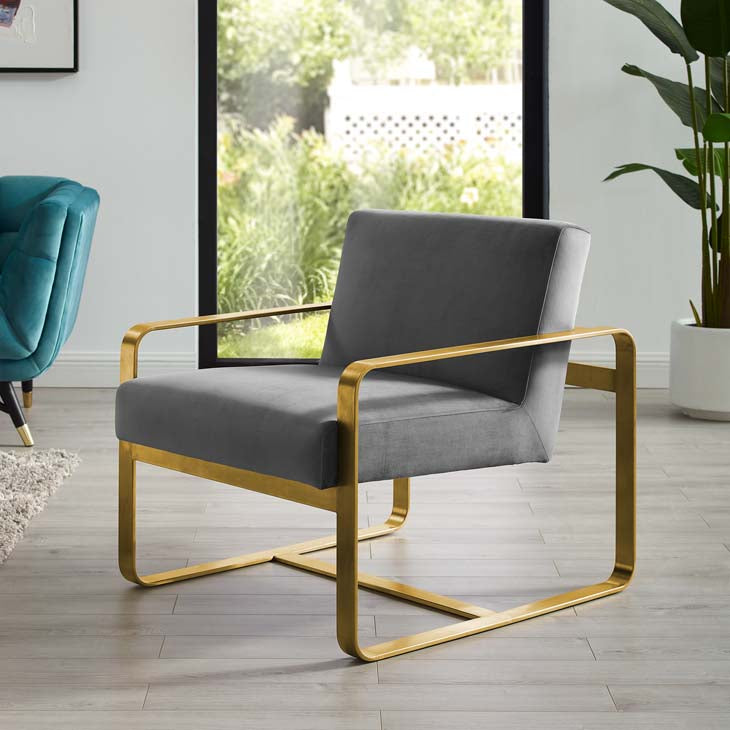 Asher Upholstered Velvet Armchair - living-essentials