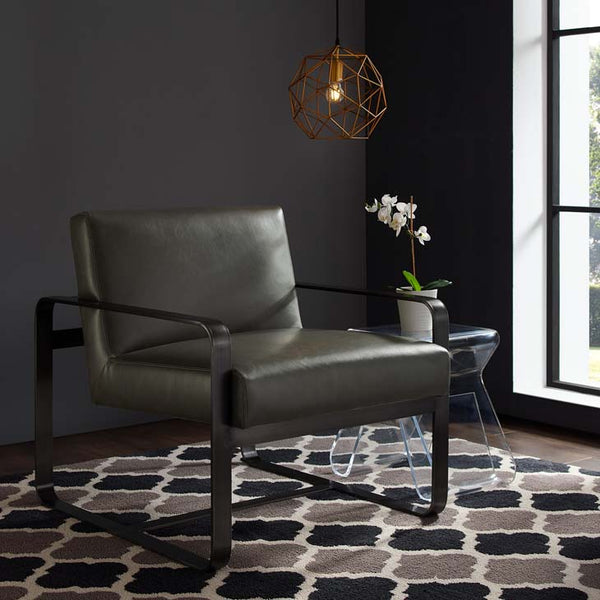 Asher Gray Faux Leather Armchair - living-essentials