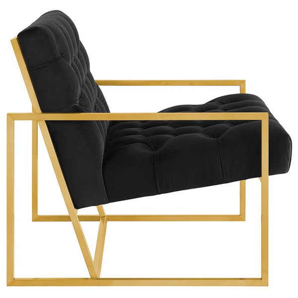 Bequest Gold Stainless Steel Upholstered Velvet Accent Chair - living-essentials