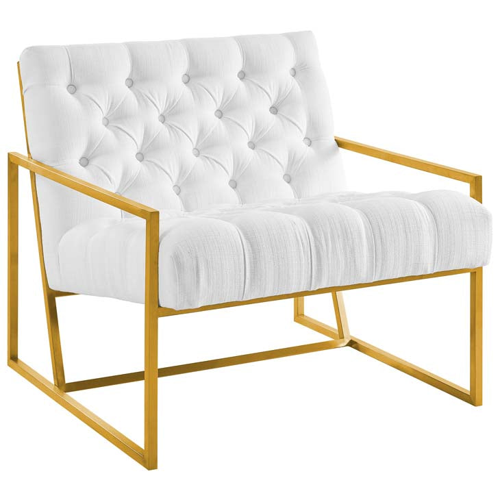 Bequest Gold Stainless Steel Upholstered Fabric Accent Chair - living-essentials