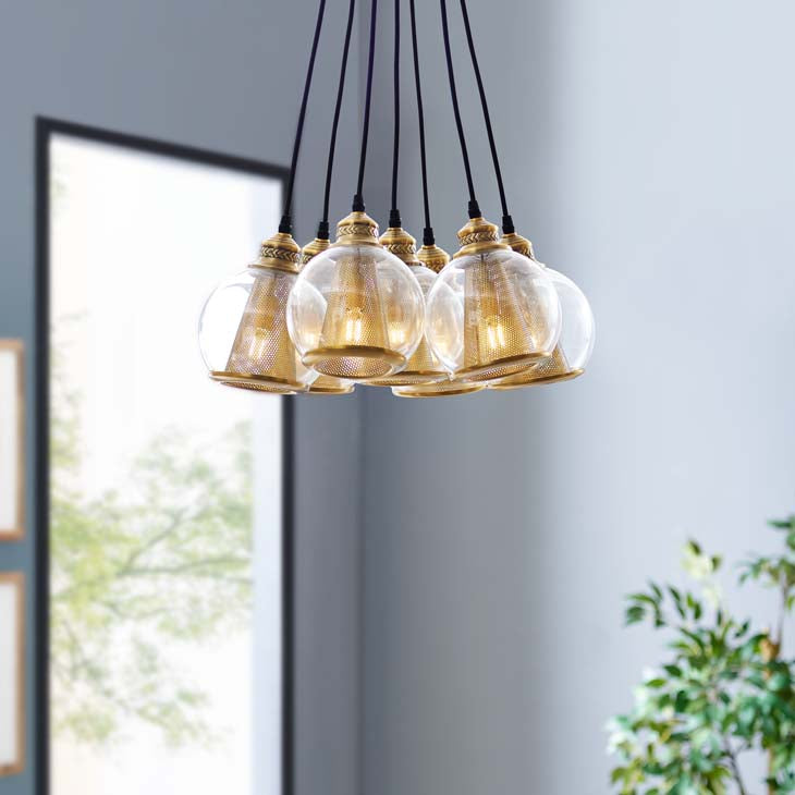 Peak Brass Cone and Glass Globe Cluster Pendant Chandelier - living-essentials