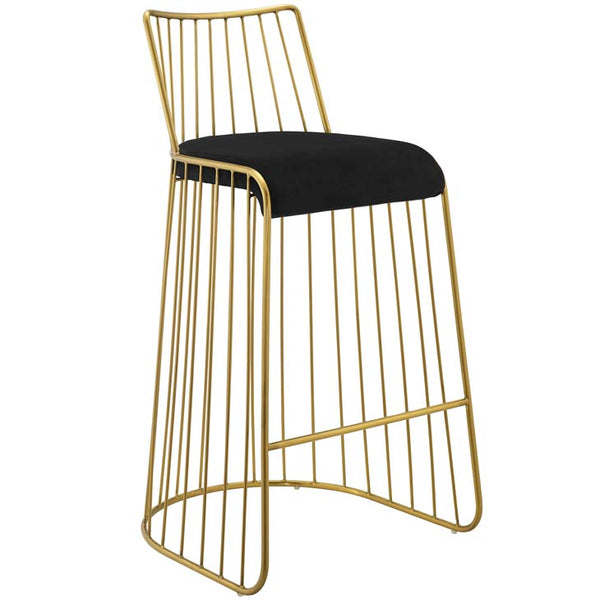 Rivulet Gold Stainless Steel Upholstered Velvet Bar Stool - living-essentials