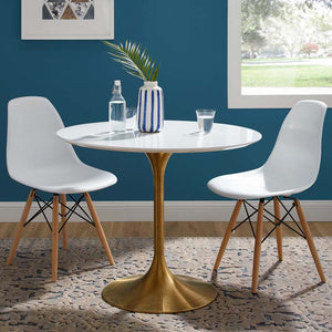 "Tulip Style 36"" Gold Dining Table"
