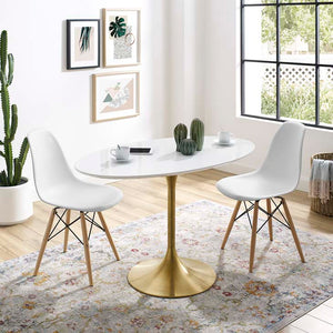 "Tulip Style 48"" Gold Oval Dining Table"