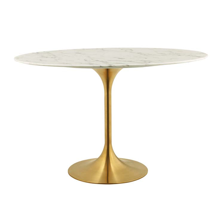 "Tulip Style 48"" Gold Oval Marble Dining Table"