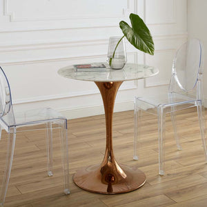 "Tulip Style 28"" Rose Gold Round Marble Dining Table"