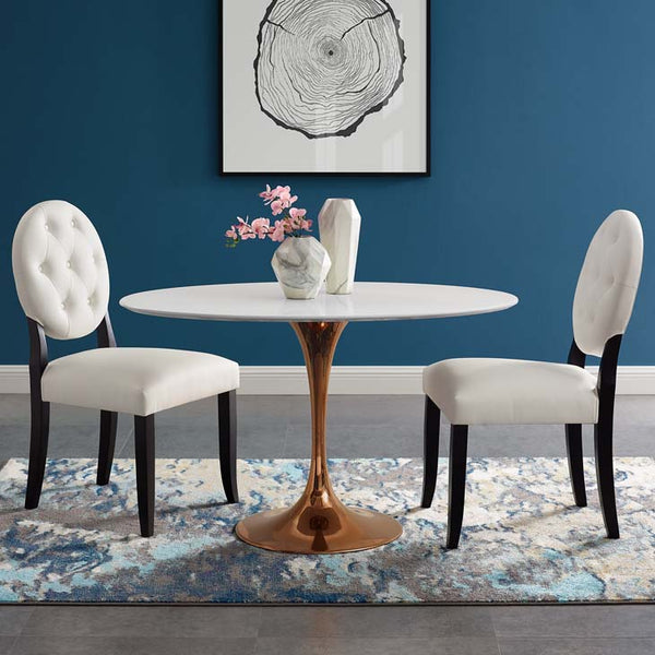 "Tulip Style 48"" Rose Oval Dining Table - living-essentials"