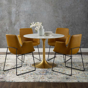 "Tulip Style 40"" Gold Round Marble Dining Table - living-essentials"
