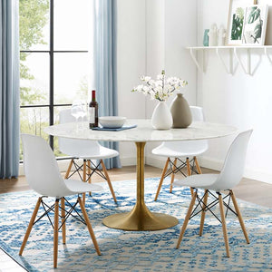 "Tulip Style 60"" Gold Marble Dining Table"