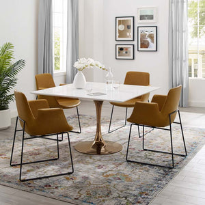 "Tulip Style 47"" Rose Square Dining Table"