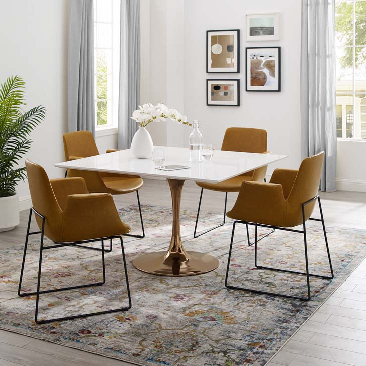"Tulip Style 47"" Rose Square Dining Table - living-essentials"