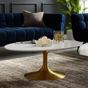 "Tulip Style 42"" Rose Gold Oval Shaped Coffee Table"