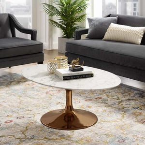 "Tulip Style 42"" Rose Gold Oval Shaped Marble Coffee Table"