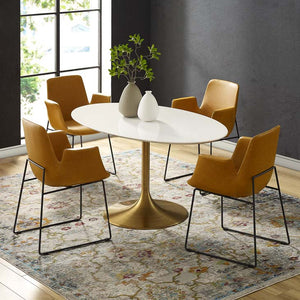 "Tulip Style 60"" Gold Oval Dining Table - living-essentials"