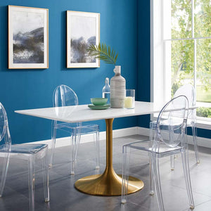 "Tulip Style 60"" Gold Rectangle Dining Table - living-essentials"