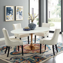 "Tulip Style 78"" Rose Oval Dining Table - living-essentials"