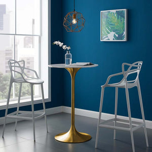 "Tulip Style 28"" Gold Bar Table"