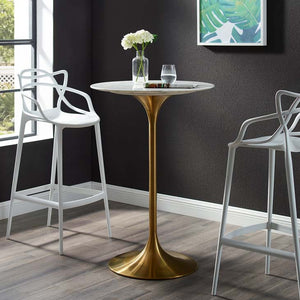 "Tulip Style 28"" Gold Marble Bar Table"