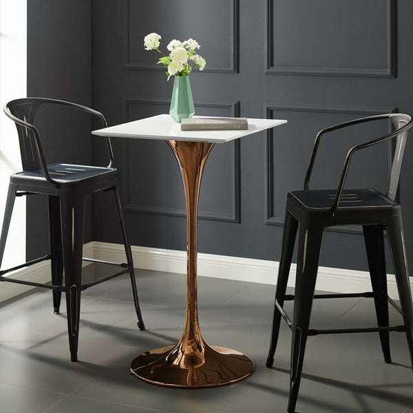 "Tulip Style 28"" Square Rose Bar Table - living-essentials"