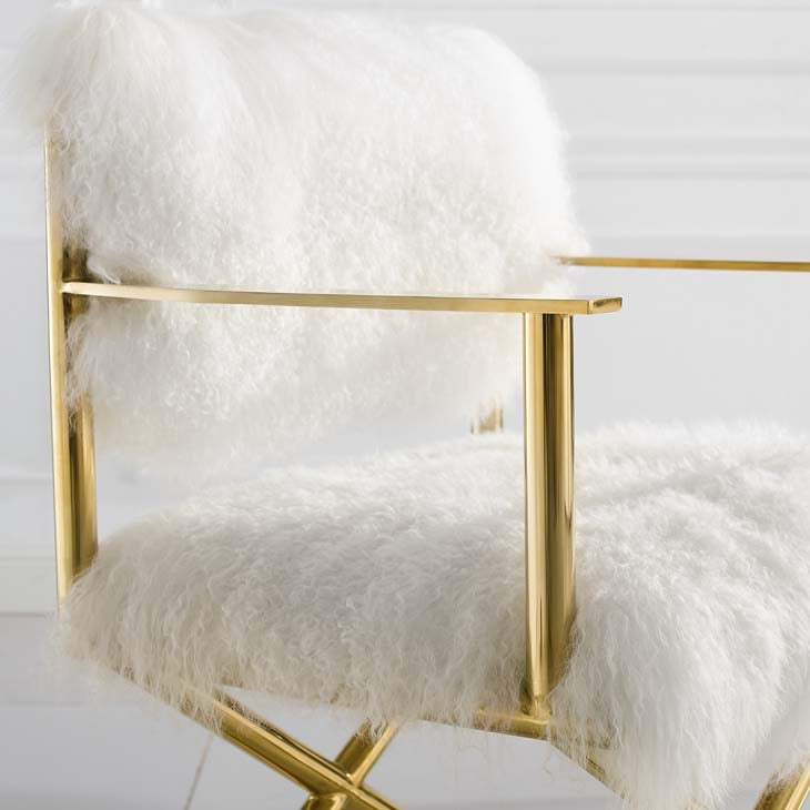 Action Pure White Cashmere Accent Director's Chair - living-essentials