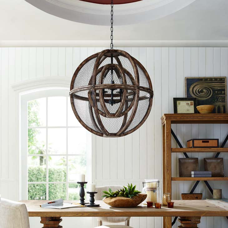 Gravitate Globe Rustic Oak Wood Pendant Light Chandelier - living-essentials