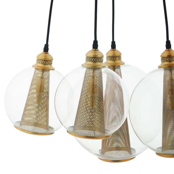 Vertex Brass Cone And Glass Globe Cluster Pendant Light Chandelier - living-essentials