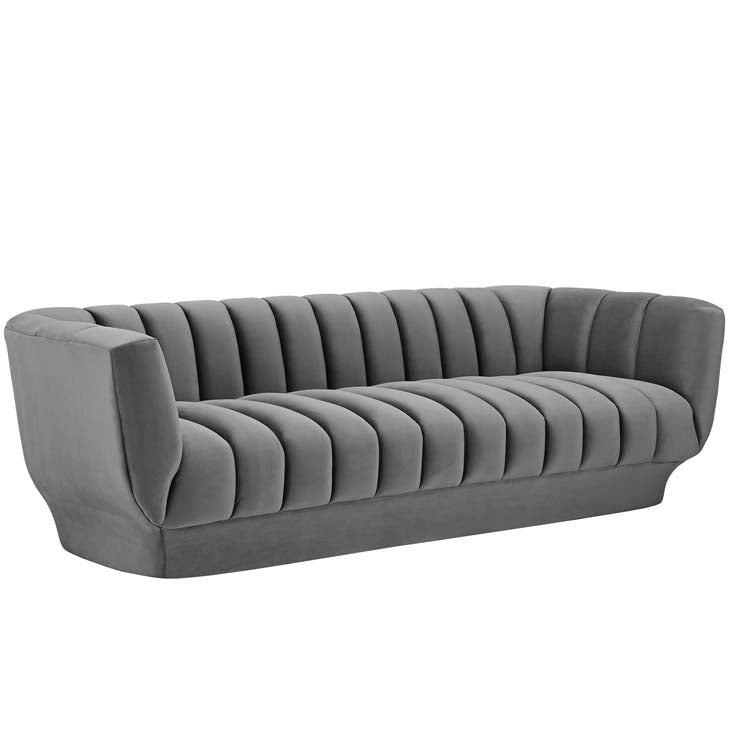 Amuse Vertical Channel Tufted Performance Velvet Sofa - living-essentials